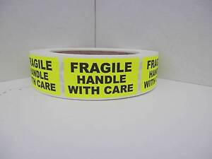 Fragile Handle With Care Warning Stickers Labels Fluorescent Chartreuse 250 rl