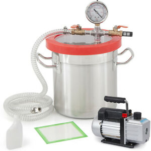 5 Gallon Vacuum Chamber Degassing Urethane Silicone W 4 Cfm Single Stage Pump