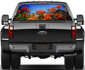 Red Poppy Painting Rear Window Graphic Decal Sticker Car Truck Suv Flowers 324