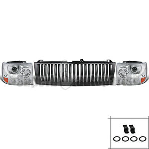 1999 2002 Chevy Silverado Tahoe Smd Projector Headlights Chrome black Grille