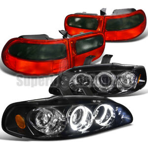 For 1992 1995 Civic 2dr Halo Projector Headlight Glossy Black tail Lamp Smoke