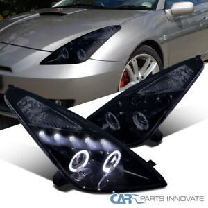 Glossy Black For Toyota 00 05 Celica Led Halo Projector Headlamps Lights Pair