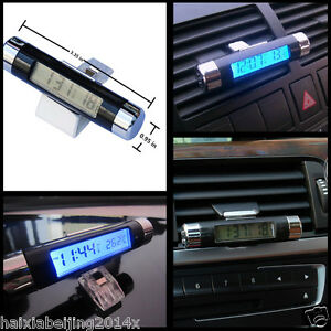 Car Air Vent Clip Digital Clock Time Thermometer Celsius Digital Led Backlight