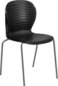 Black Caf Restaurant Indoor Outdoor Stack Chair With Ribbed Back