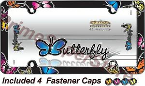 Butterfly License Plate Frame Car Auto Truck Chrome Color Tag Holder