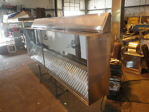 9 Ft type L Commercial Kitchen Exhaust Hood With M U Air Blowers Roof Curbs