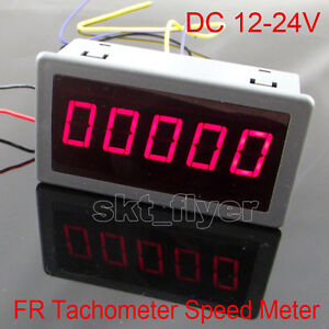 Digital Red Led Frequency Tachometer Rotate Speed Meter Dc12 24v Car 79 43mm