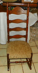 Quartersawn Oak Carved Ladder Back Sewing Rocker Rocking Chair R199