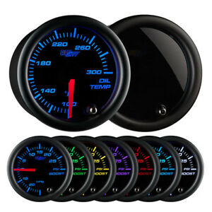 Glowshift 52mm Universal Tinted 7 Color Oil Temperature Gauge 100 300f
