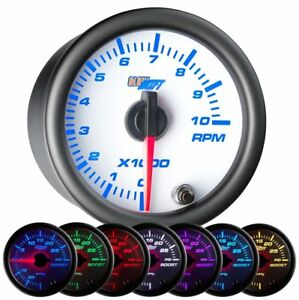 Glowshift White 7 Color 2 Tachometer Gauge
