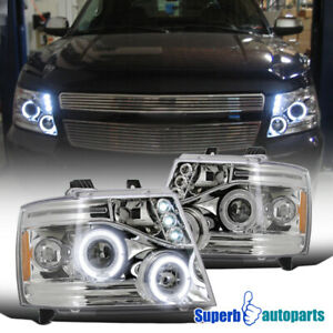 2007 2013 Chevy Avalanche Halo Led Clear Projector Headlights Chrome