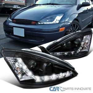 For Ford 00 04 Focus Black Led Strip Projector Headlights Head Lamps Left Right
