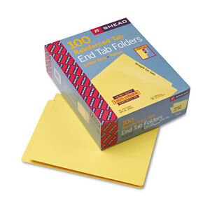 Smead Colored File Folders Straight Cut Reinforced End Tab Letter Yellow 100 box