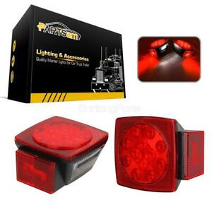 Pair Led Submersible Square Lights Trailer Under 80 Tail Brake Boat Stud Mount