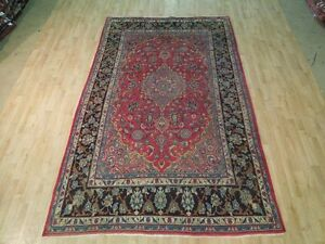 Red Dark Navy Persian Rug 7 X 10 Oriental Isfahan Dense Pile Hand Knotted Rugs