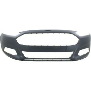 Front Bumper Cover For 2013 2016 Ford Fusion W Fog Lamp Holes Primed