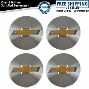 Oem Wheel Center Cap Brushed Aluminum Gold Bowtie Kit Set Of 4 For Cobalt Cruze