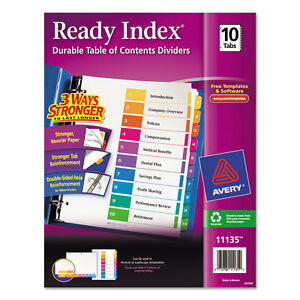 Avery Ready Index Customizable Table Of Contents Multicolor Dividers 10 tab