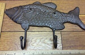 Large 10 3 4 Fish Coat Hook Cast Iron Rustic Antique Vintage Style Wall Hat Rack