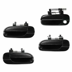 Door Handle Smooth Black Outer Outside Kit Set Of 4 For 00 06 Nissan Sentra New