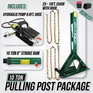 Pulling Power Post 55 5 Tall With Pump 6ft Hose Chains 10 Ton Ram 6 Stroke
