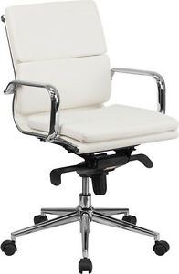 Lot Of 8 Mid back White Leather Conference Table Chair W Synchro tilt Mechanism