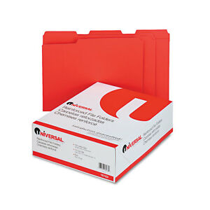 Universal One Colored File Folders 1 3 Cut Asst Two ply Top Tab Letter Red