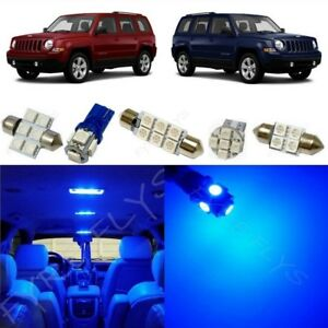 6x Blue Led Lights Interior Package Kit For 2007 2017 Jeep Patriot Jp1b