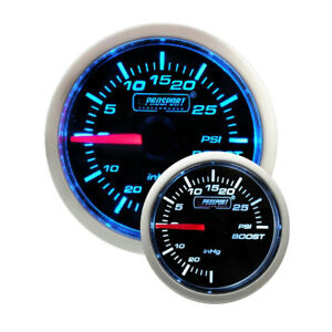 Prosport 52mm Universal Electronic Boost Turbo Gauge Blue White