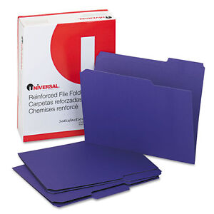 Universal One Colored File Folders 1 3 Cut Asst Two ply Top Tab Letter Violet