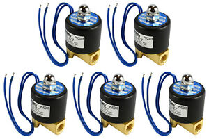 5 Lot 1 4 Npt Electric Brass Solenoid Air Water Valve Nc 12v Dc Pneumatic
