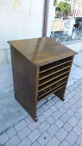 Wine Rack Bar Antique Library Cabinet Quarter Sawn Oak Arts Crafts Mission Deco