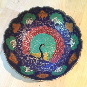 Vintage Indian Brass Metal And Enamel Colorful Peacock Bowl
