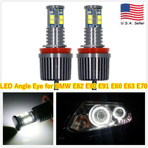 2pcs H8 80w 6000k White 2 sides Cree Led Angel Eye Halo Ring Light Bulbs For Bmw