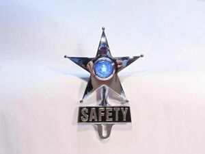 Light Up Blue Dot Vintage Style Safety Star License Plate Topper Hot Rat Rod