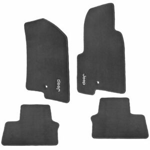 Oem Carpeted Floor Mats Embroidered Jeep Logo Slate Gray Set Of 4 For Jeep New