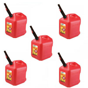 Gas Cans 5 Gallon Each 5 Pack Plastic Will Not Corrode Or Rust Brand New
