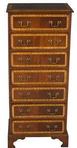 Antique Style English Mahogany Wellington Lingerie Chest Of Drawers Dresser