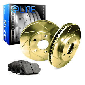 2012 2016 Ford Focus Front Gold Slotted Brake Disc Rotors Ceramic Brake Pads