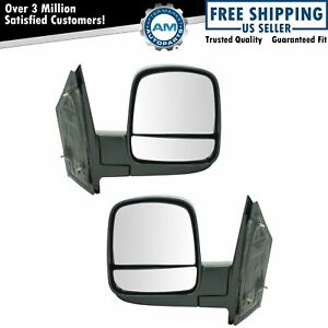 Side Mirror Manual Left Right Pair Set For 08 13 Chevy Express Gmc Savana Van