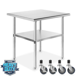 Stainless Steel Commercial Kitchen Work Food Prep Table W 4 Casters 24 X 30
