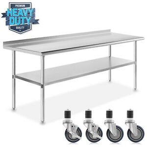 Stainless Kitchen Restaurant Prep Table W Backsplash And 4 Casters 30 X 72