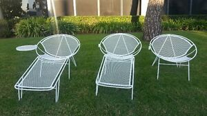 2 Salterini Sets 3 Pc Lounge Chairs W Tables Footrests Mid Century Woodard