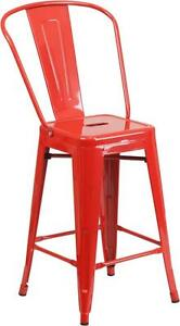 Red 24 Seat Height Restaurant Metal Counter Height Stool