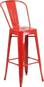 Red 30 Seat Height Restaurant Metal Bar Height Stool