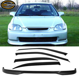 Fits 99 00 Honda Civic 4d Ek Front Bumper Lip Spoiler Sun Window Visor