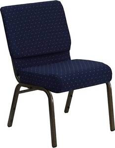 Lot Of 50 21 Extra Wide Navy Patterned Stacking Church Chairs Gold Vein Frame