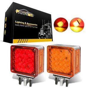 2x Pedestal Dual Face Fender Turn Stop Tail Light 52 Led Truck Trailer Amber red