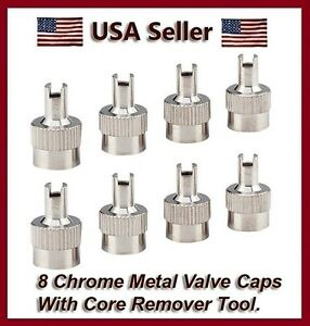 8 Chrome Metal Slotted Head Valve Stem Caps With Core Remover Tool Motorcyle Car