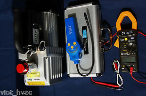 Hvac Tool Kit Deep Vacuum Pump refrigerant Leak Detector true Rms Clamp Ammeter